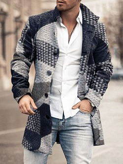 Lapel Print Geometric Winter Single-Breasted Coat