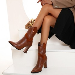 Shoespie Stylish Plain Chunky Heel Back Zip OL Boots