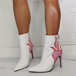 Shoespie Stylish Back Zip Patchwork Pointed Toe Embroidery Boots