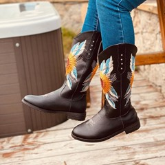 Shoespie Trendy Floral Slip-On Block Heel Embroidery Boots