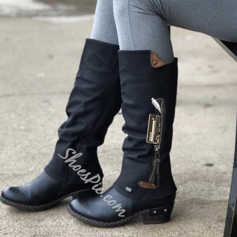 Shoespie Sexy Round Toe Side Zipper Color Block Western Boots