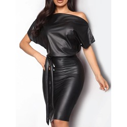 Knee-Length Oblique Collar Lace-Up Bodycon Women's Dress