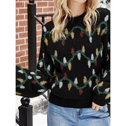 Lantern Sleeve Thin Patchwork Round Neck Women's Sweater