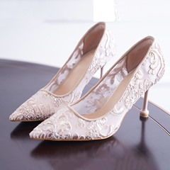 Shoespie Stylish Slip-On Lace Pointed Toe 7cm Thin Shoes