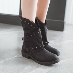 Shoespie Sexy Side Zipper Round Toe Block Heel Western Boots