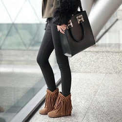 Shoespie Sexy Round Toe Block Heel Plain Fringe Boots