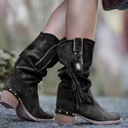 Shoespie Trendy Round Toe Slip-On Chunky Heel Vintage Boots