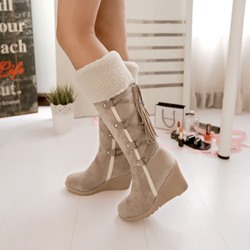 Shoespie Trendy Patchwork Wedge Heel Slip-On Fringe Boots