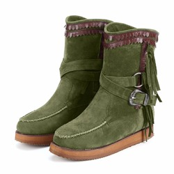 Shoespie Trendy Round Toe Patchwork Slip-On Fringe Boots