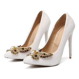 Shoespie Sexy Beads Pointed Toe Stiletto Heel Sweet Thin Shoes