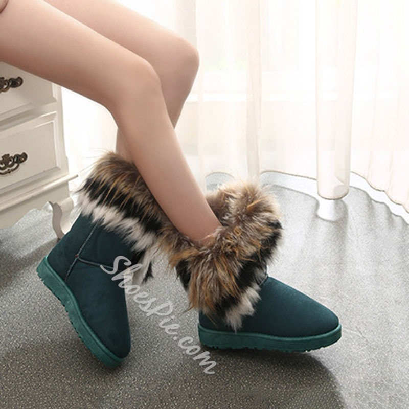 Shoespie Stylish Flat With Round Toe Slip-On Short Floss Boots