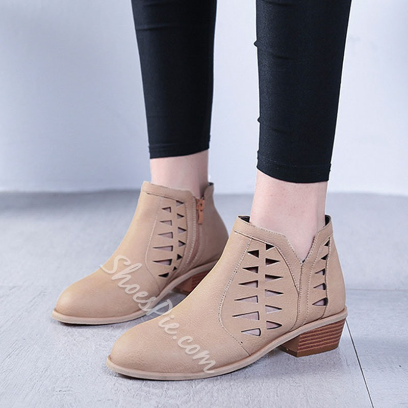 Shoespie Trendy Pointed Toe Plain Back Zip Professional Boots