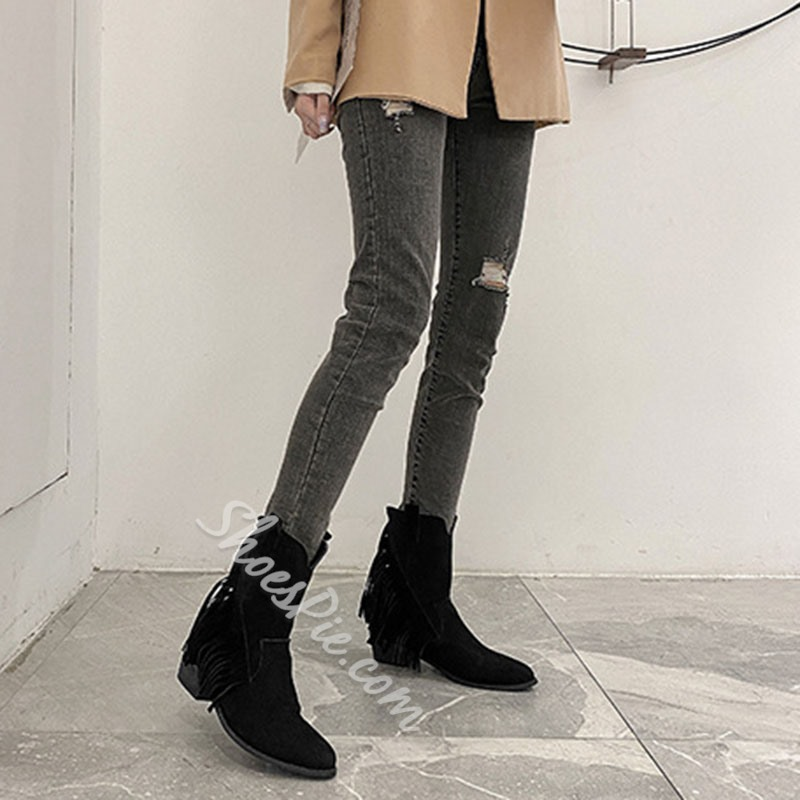 Shoespie Stylish Back Zip Pointed Toe Plain Vintage Boots