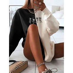 Christmas Cartoon Print Long Sleeve Women's Hoodie