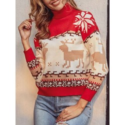 Patchwork Thin Turtleneck Women's Sweater