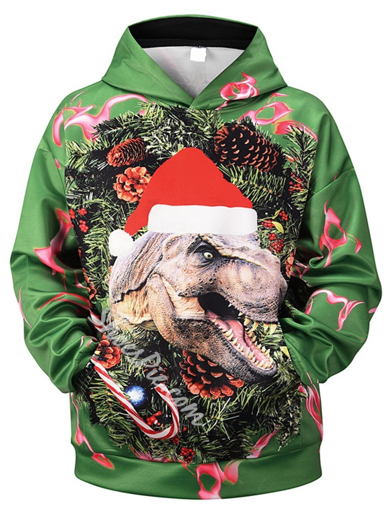 Christmas Pullover Animal Print Pullover Loose Hoodies