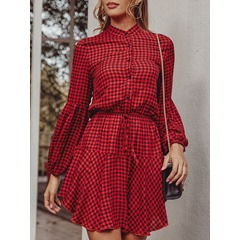 Above Knee Lace-Up Stand Collar Mid Waist Women's Dress