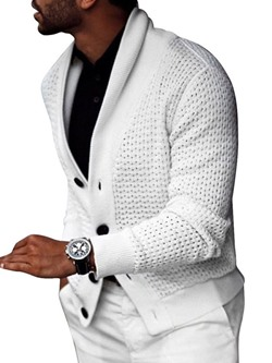 Standard Plain Lapel Spring Single-Breasted Sweater