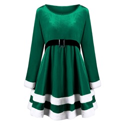 Long Sleeve Knee-Length Patchwork Winter Women's Dress