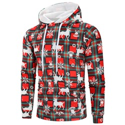 Plaid Print Pullover Casual Hooded Hoodies