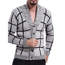 Plaid V-Neck Standard Single-Breasted Fall Sweater