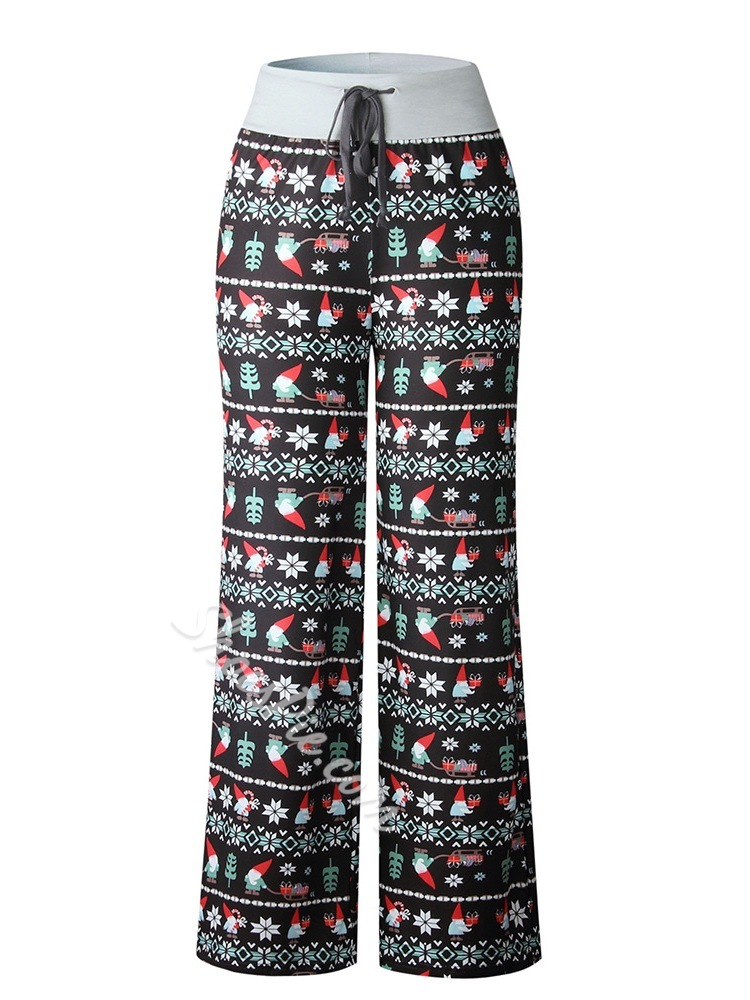 Loose Geometric Lace-Up Straight Women's Casual Pants