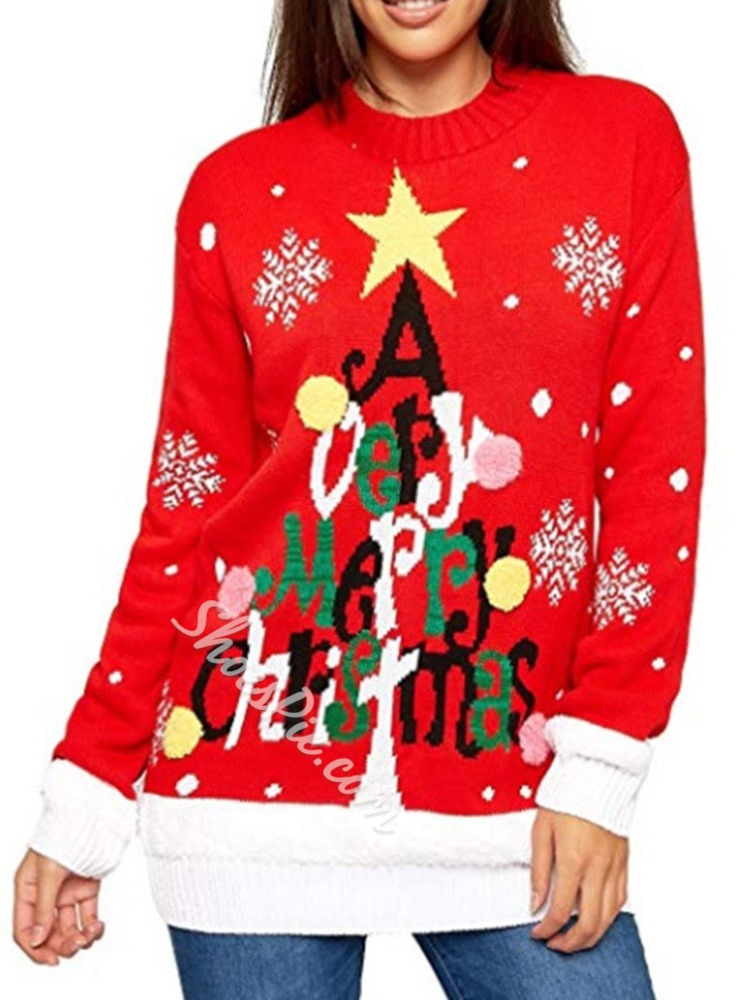 Christmas Patchwork Fall Women's Sweater