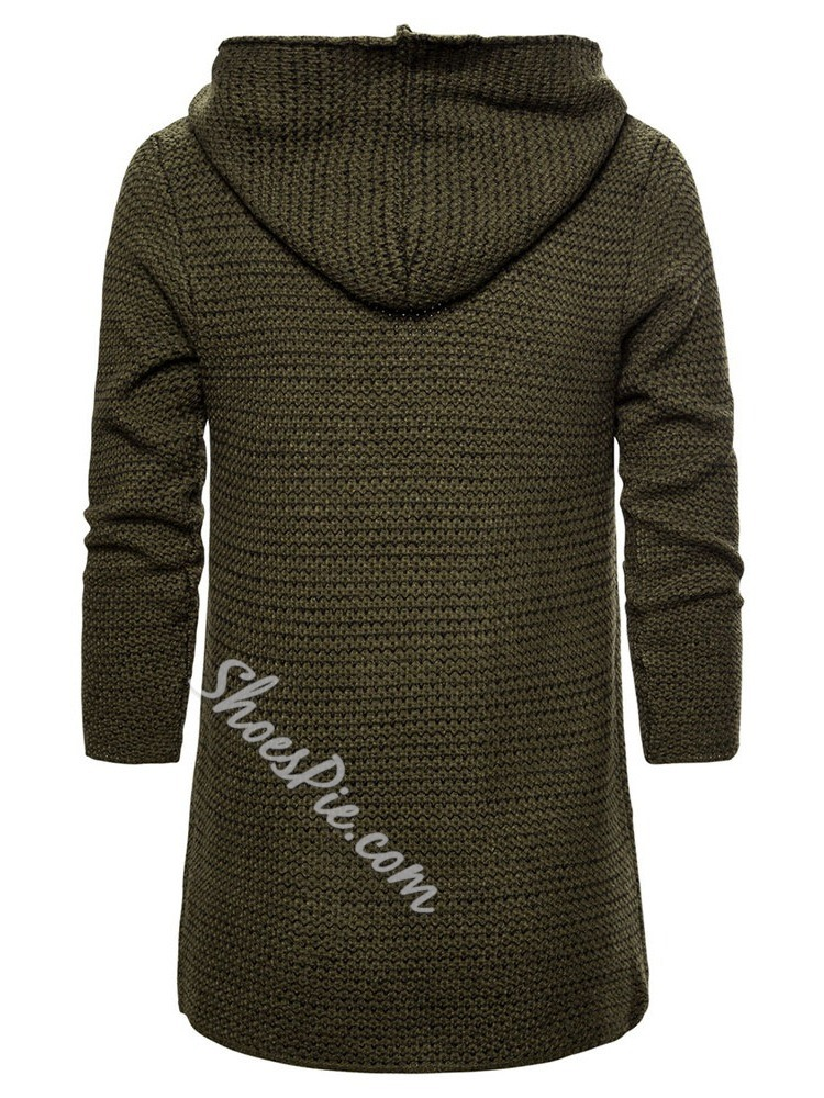 Plain Hooded Mid-Length Casual Fall Sweater