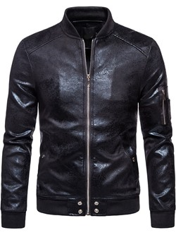 Stand Collar Plain Standard Patchwork European Leather Jacket