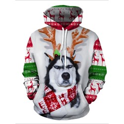 Christmas Pullover Print Animal Hooded Winter Hoodies