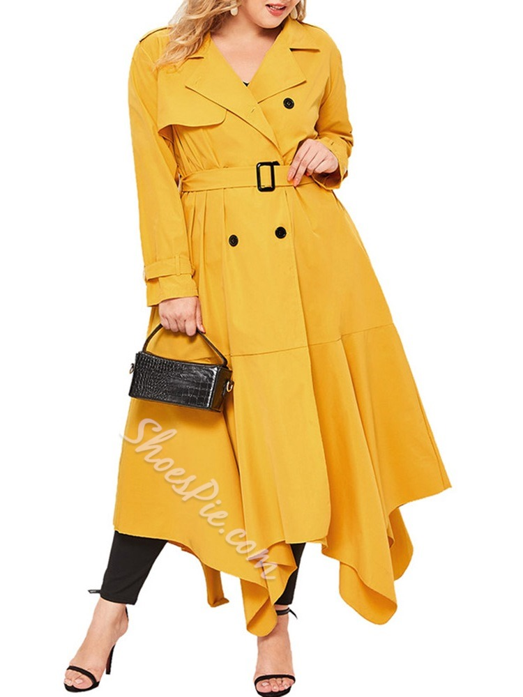 Double-Breasted Patchwork Lapel Fall Women's Trench Coat