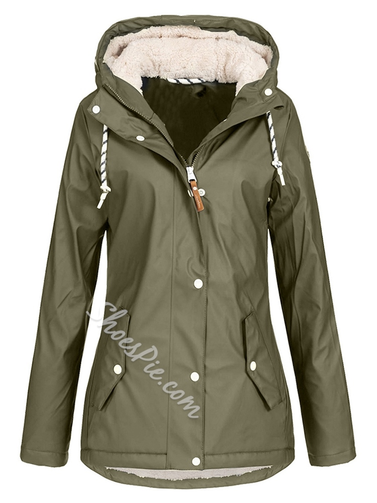 Button Single-Breasted Hooded Long Sleeve Women's Trench Coat
