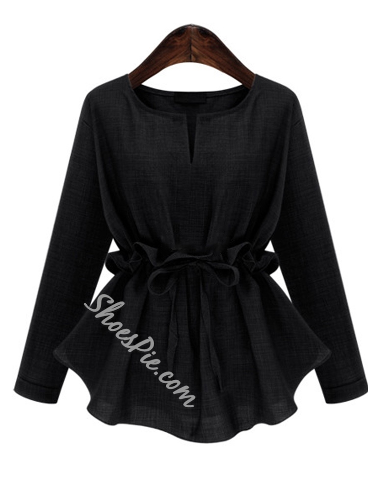 Regular Lace-Up Long Sleeve Women's Blouse