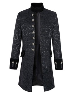 Patchwork Mid-Length Stand Collar Fall Slim Coat