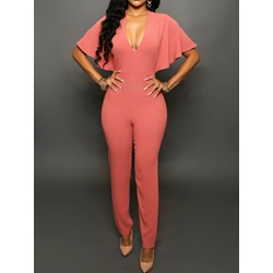 Full Length Plain Simple Pencil Pants Women's Jumpsuit