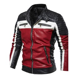 Stand Collar Color Block Standard Slim Fall Leather Jacket