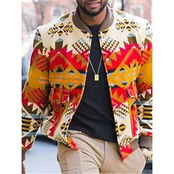 Stand Collar Print Geometric Fall Single-Breasted Jacket