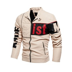 Standard Stand Collar Letter Fall Slim Leather Jacket