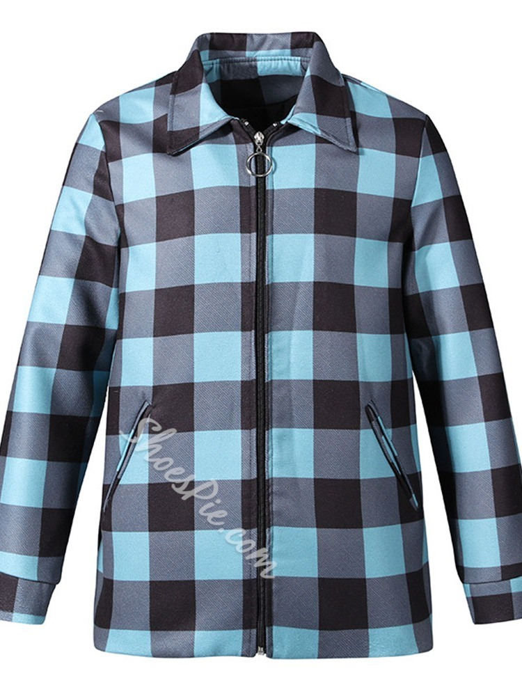 Lapel Plaid Fall Casual Jacket
