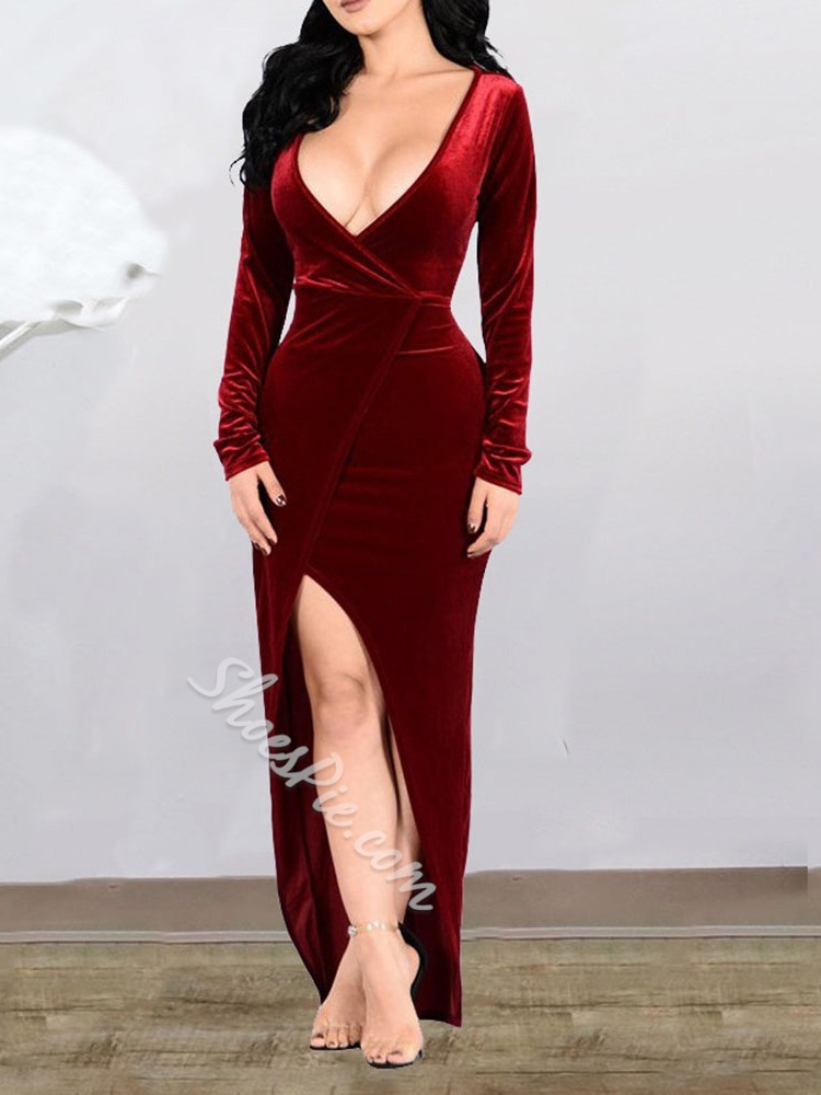V-Neck Floor-Length Split Bodycon Women's Dress