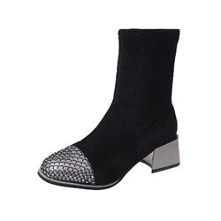 Shoespie Stylish Color Block Round Toe Slip-On PU Boots