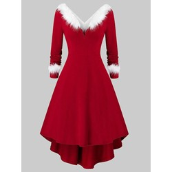 Long Sleeve Mid-Calf V-Neck Winter Women's Dress