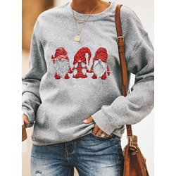 Regular Cartoon Print Thick Women's Hoodie