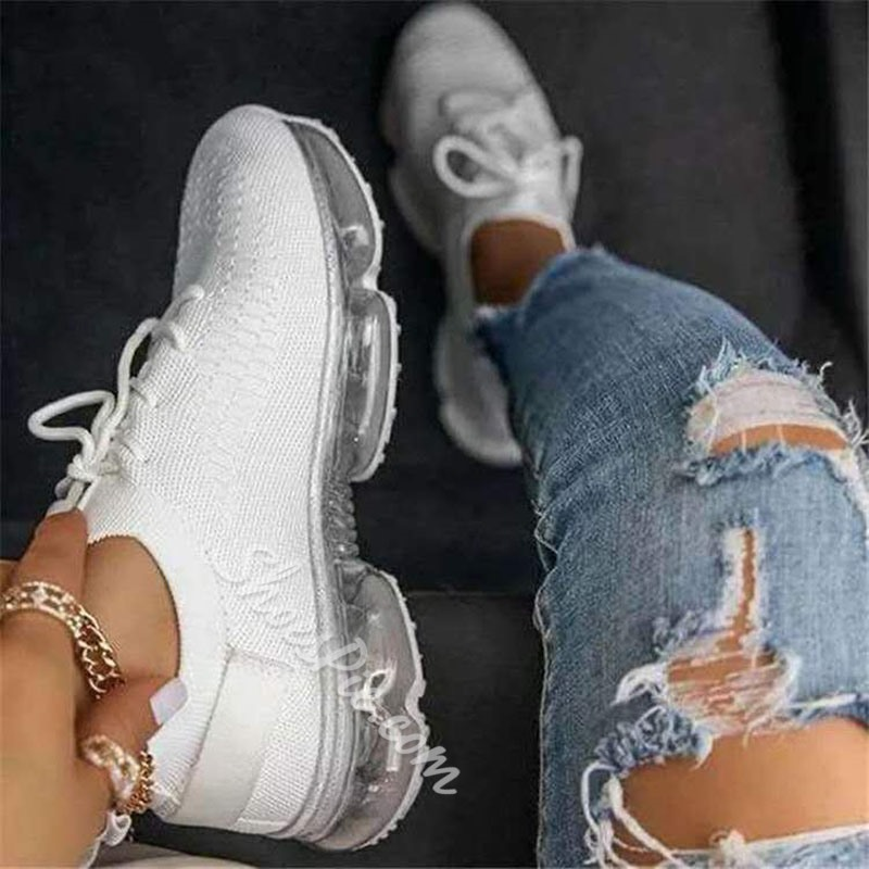 Shoespie Stylish Elastic Band Round Toe Mesh Sneakers