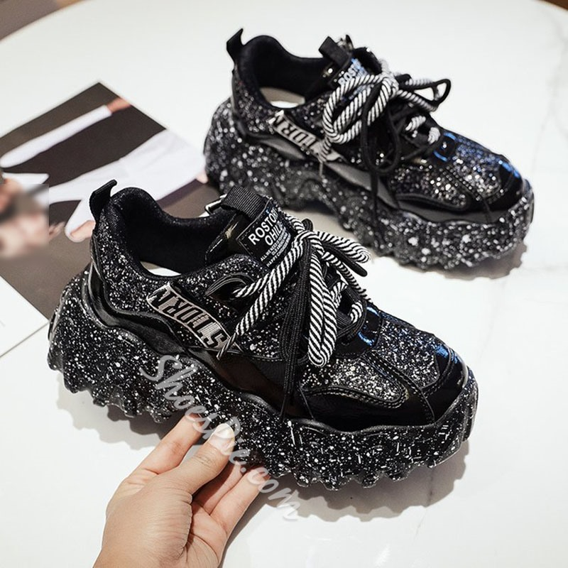 Shoespie Trendy Round Toe Lace-Up Low-Cut Upper Casual Sneakers