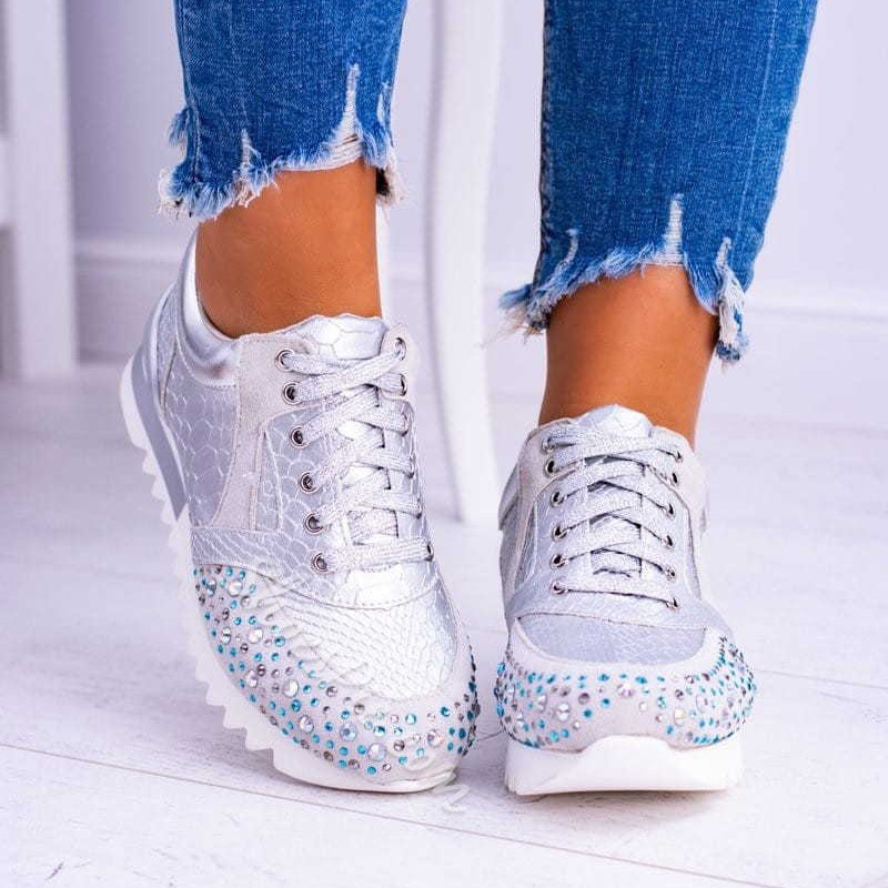 Shoespie Sexy Low-Cut Upper Rhinestone Lace-Up Western Sneakers