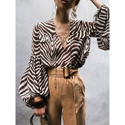 Lantern Sleeve Stripe Print Long Sleeve Women's Blouse