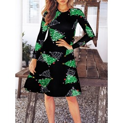 Christmas Long Sleeve Knee-Length Print Pullover Women's Dress
