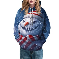 Christmas Cartoon Print Regular Hooded Women's Hoodie