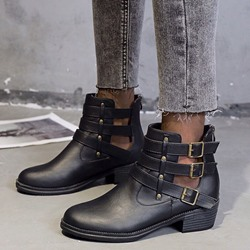Shoespie Trendy Back Zip Plain Round Toe PU Boots